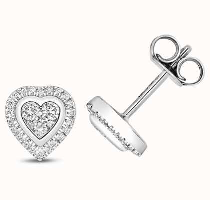 James Moore TH 9k White Gold Heart Diamond Cluster Stud Earrings ED331W