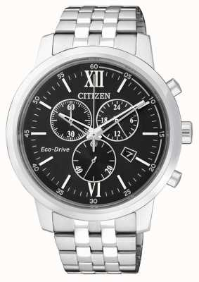Citizen | Mens Eco-Drive Chronograph | Stainless Steel | Black Dial AT2300-51E