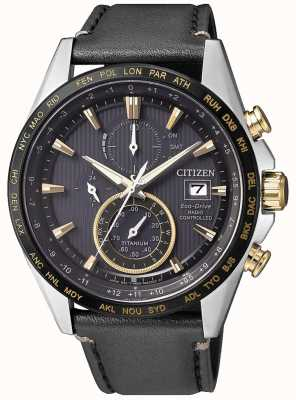 Citizen Mens Radio Controlled H800 A-T World Chronograph Black & Gold IP Titanium AT8158-14H