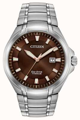 Citizen | Mens Eco-Drive | Titanium Bracelet | Brown Dial | BM7431-51X