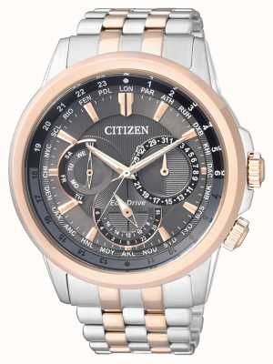 Citizen | Mens Eco-Drive | Two Tone Bracelet | Black/Grey Dial | BU2026-65H