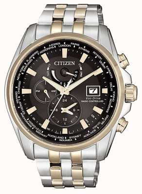 Citizen Mens H820 Eco-Drive Radio Controlled A.T Stainless Steel & Gold IP AT9038-53E