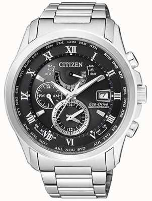 Citizen Mens H820 Eco-Drive Radio Controlled A.T Stainless Steel Black Dial AT9081-89E