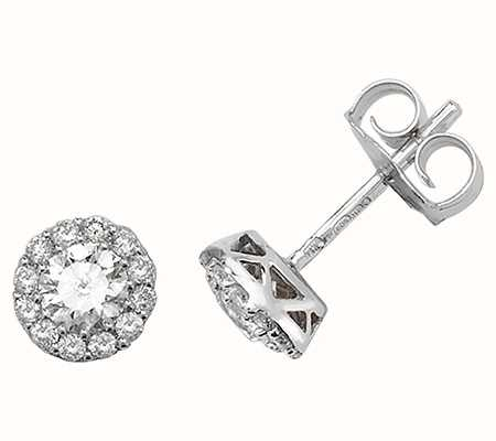 Treasure House 18k White Gold Diamond Stud Earrings EDQ169W