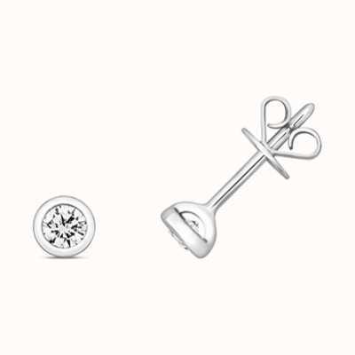 Treasure House 18k White Gold Diamond Rubover Stud Earrings EDQ171W