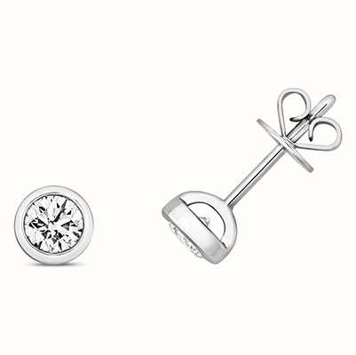 Treasure House 18k White Gold Diamond Rubover Stud Earrings EDQ174W