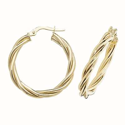 Treasure House 9k Yellow Gold Hoop Twist Earrings 20 mm ER1006-20