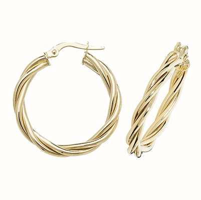 James Moore TH 9k Yellow Gold Hoop Twist Earrings 20 mm ER1006-20