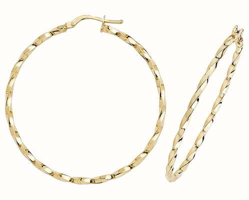 Treasure House 9k Yellow Gold Hoop Earrings 40 mm ER1008-40