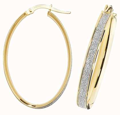 Treasure House 9k Yellow Gold Oval Hoop Earrings ER1023-V4