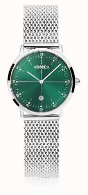 Michel Herbelin | Womens City | Silver Mesh Bracelet | Green Dial | 16915/16B