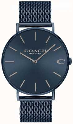 Coach Mens Charles | Blue IP Mesh Steel Bracelet | Blue Dial 14602146
