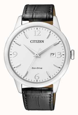 Citizen | Mens Eco-Drive | Black Leather Strap | Silver Dial | BM7300-09A