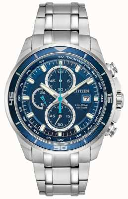 Citizen | Mens Eco-Drive Titanium WR100 | Blue Chronograph Dial | CA0349-51L