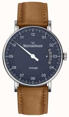 MeisterSinger | Men's Vintago | Automatic | Brown Leather | Blue Dial VT908