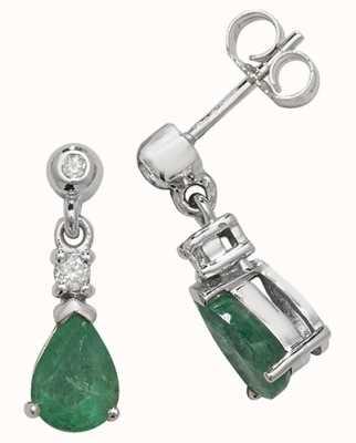 Treasure House 9k White Gold Emerald Diamond Drop Earrings ED245WE
