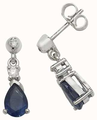 Treasure House 9k White Gold Sapphire Diamond Drop Earrings ED245WS