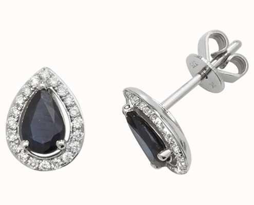 Treasure House 9k White Gold Teardrop Diamond Sapphire Halo Stud Earrings ED248WS