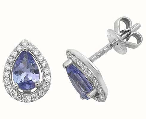 Treasure House 9k White Gold Teardrop Diamond Tanzanite Halo Stud Earrings ED248WT