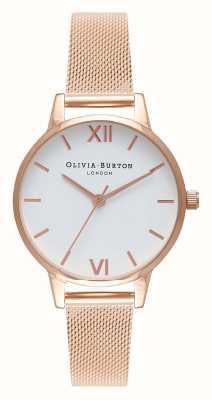 Olivia Burton | Womens | Rose Gold Mesh Bracelet | White Dial | OB16MDW01