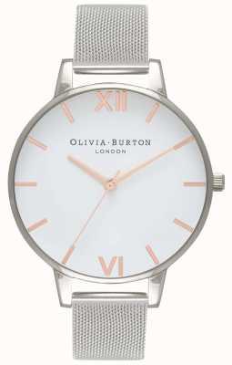 Olivia Burton | Womens |White Dial | Stainless Steel Mesh Bracelet | OB16BD97