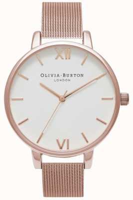 Olivia Burton | Womens | Rose Gold Mesh Bracelet | White Dial | OB15BD79