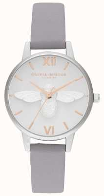 Olivia Burton | Womens | 3D Bee | Grey Lilac Leather Strap | OB16AM163
