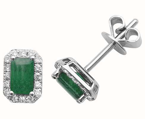James Moore TH 9k White Gold Octagon Emerald Diamond Stud Earrings ED251WE