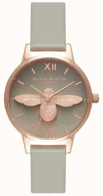 Olivia Burton | Womens | 3D Bee | Grey Leather Strap | OB15AM77