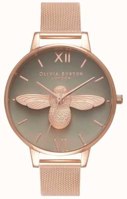 Olivia Burton | Womens | 3D Bee | Rose Gold Mesh Bracelet | Grey Dial | OB16AM117