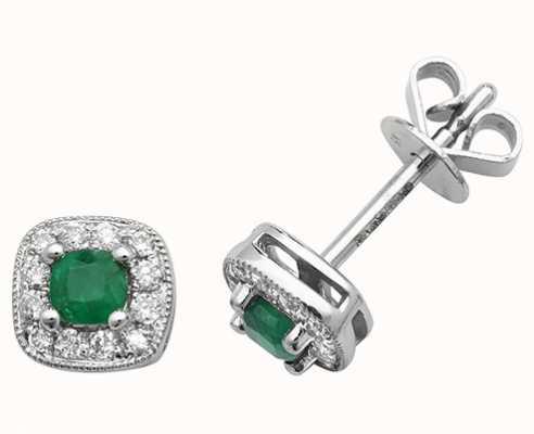 Treasure House 9k White Gold Diamond Emerald Cushion Stud Earrings ED252WE