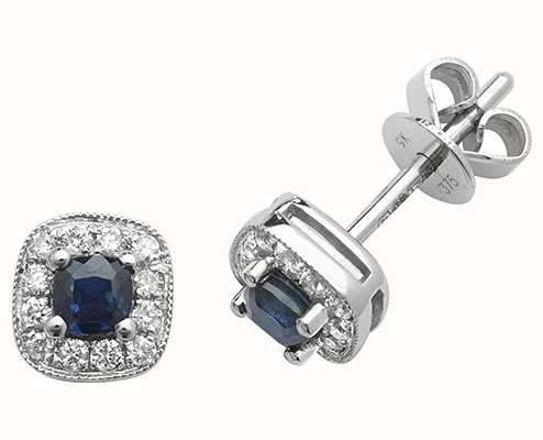 Treasure House 9k White Gold Diamond Sapphire Cushion Stud Earrings ED252WS