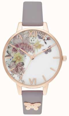 Olivia Burton | Womens | Enchanted Garden | Grey Lilac Leather Strap | OB16EG129