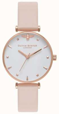 Olivia Burton | Womens | Queen Bee | Nude Peach T Bar Leather Strap | OB16AM95
