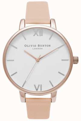Olivia Burton | Womens | Big White Dial | Nude Peach Leather Strap | OB16BDW21