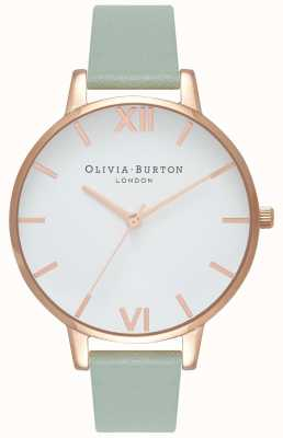 Olivia Burton | Womens | Big White Dial | Mint Leather Strap | OB16BDW27