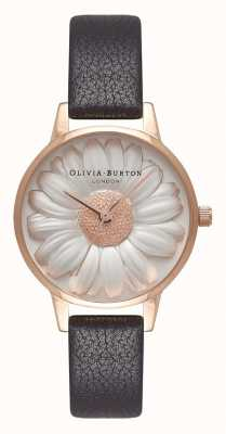 Olivia Burton | Womens | 3D Daisy Dial | Black Leather Strap | OB16FS97