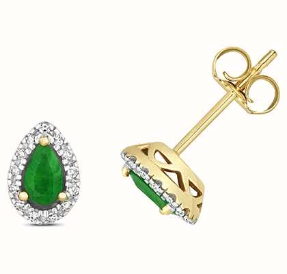 James Moore TH 9k Yellow Gold Diamond Emerald Stud Earrings ED265E