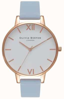 Olivia Burton | Womens | Big White Dial | Chalk Blue Strap | OB16BDW18