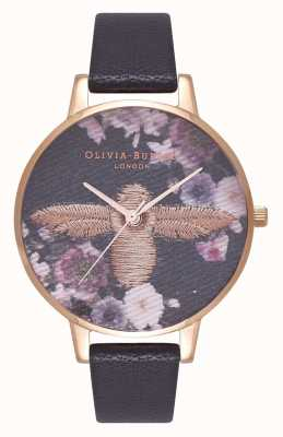 Olivia Burton | Womens | Embroidered 3D Bee Dial | Black Leather Strap | OB16EM02