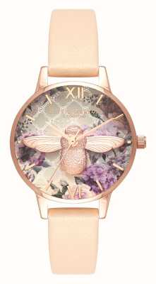 Olivia Burton | Womens | Glasshouse | Nude Peach Leather Strap | OB16EG98
