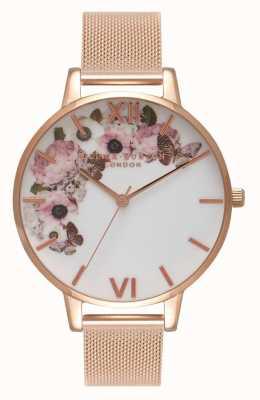 Olivia Burton | Womens | Signature Floral Dial | Rose Gold Mesh Bracelet | OB16WG18