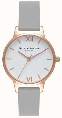 Olivia Burton | Womens | White Dial | Grey Leather Strap | OB16MDW05