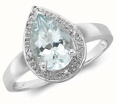 Treasure House 9k White Gold Pear Shape Diamond Aquamarine Ring RD210WAQ