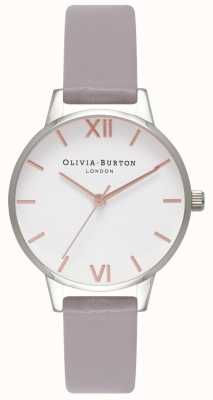 Olivia Burton | Womens | White Dial | Grey Lilac Leather Strap | OB16MDW26