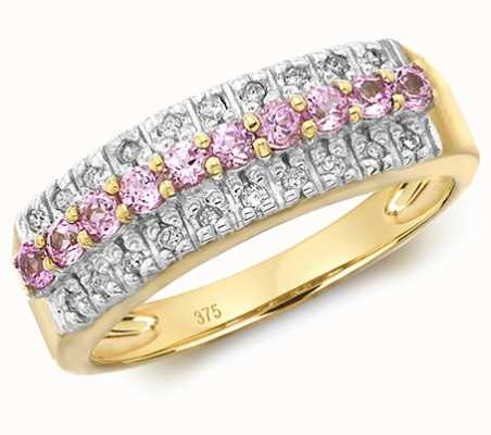 Treasure House 9k Yellow Gold Pink Sapphire and Diamond Ring RD216PS