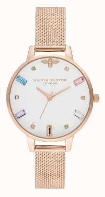 Olivia Burton | Womens | Rainbow Bee | Boucle Rose Gold Mesh Bracelet | OB16RB15