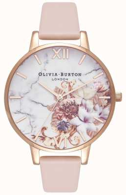 Olivia Burton | Womens | Marble Florals | Nude Peach Leather Strap | OB16CS12