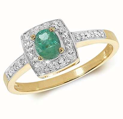 Treasure House 9k Yellow Gold Emerald Diamond Cushion Ring RD295E