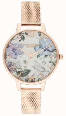 Olivia Burton | Womens | Bejewelled Florals | Rose Gold Mesh Bracelet | OB16BF27